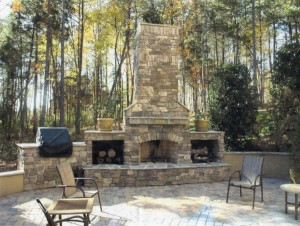 landscaping design outdoor fireplaces
