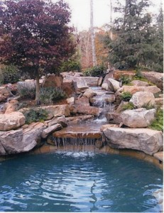 landscaping designs stone pool decking stone waterfalls